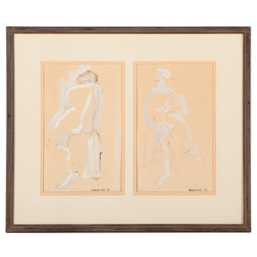 Roberta Case Gestural Figure Drawings, 1963