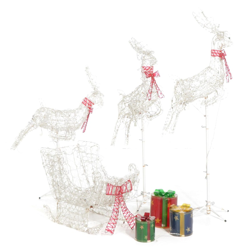 Reindeer and Sleigh Outdoor Illuminated Christmas Decorations
