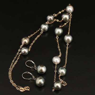 14K 10.00 MM - 11.50 MM Pearl Station Necklace and Drop Earrings