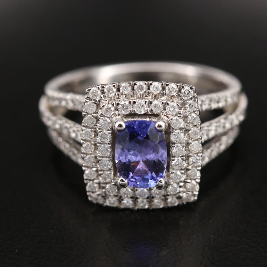 Kallati 9K Tanzanite and Diamond Double Halo Ring with Split Shoulders