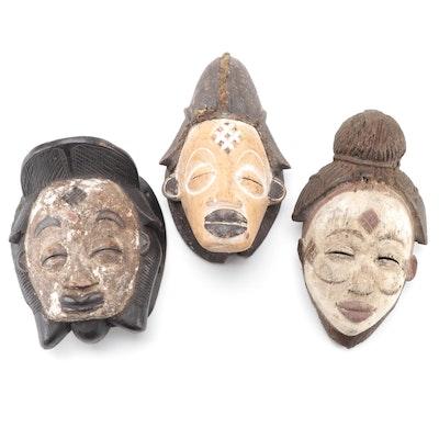 Punu Inspired Hand-Carved Wood Masks, Central Africa