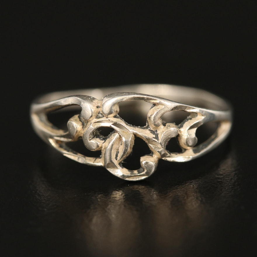 Sterling Scroll Openwork Ring