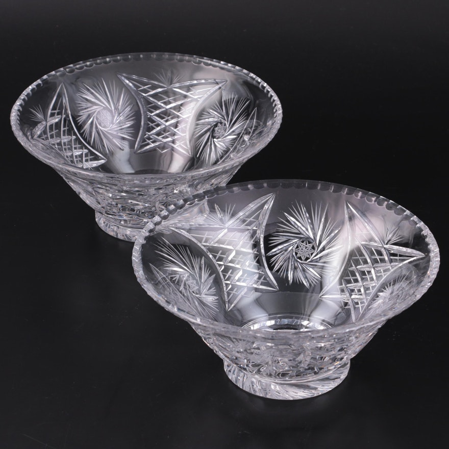 Pair of American Brilliant Style Cut Crystal Serving Bowls