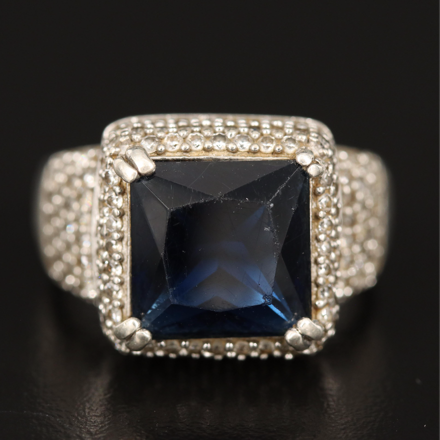Sterling Glass and Cubic Zirconia Statement Ring