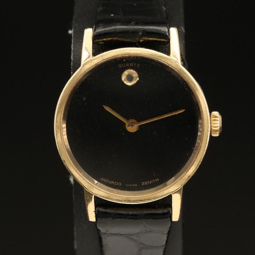 Vintage Movado/Zenith Museum 18K Gold Quartz Wristwatch