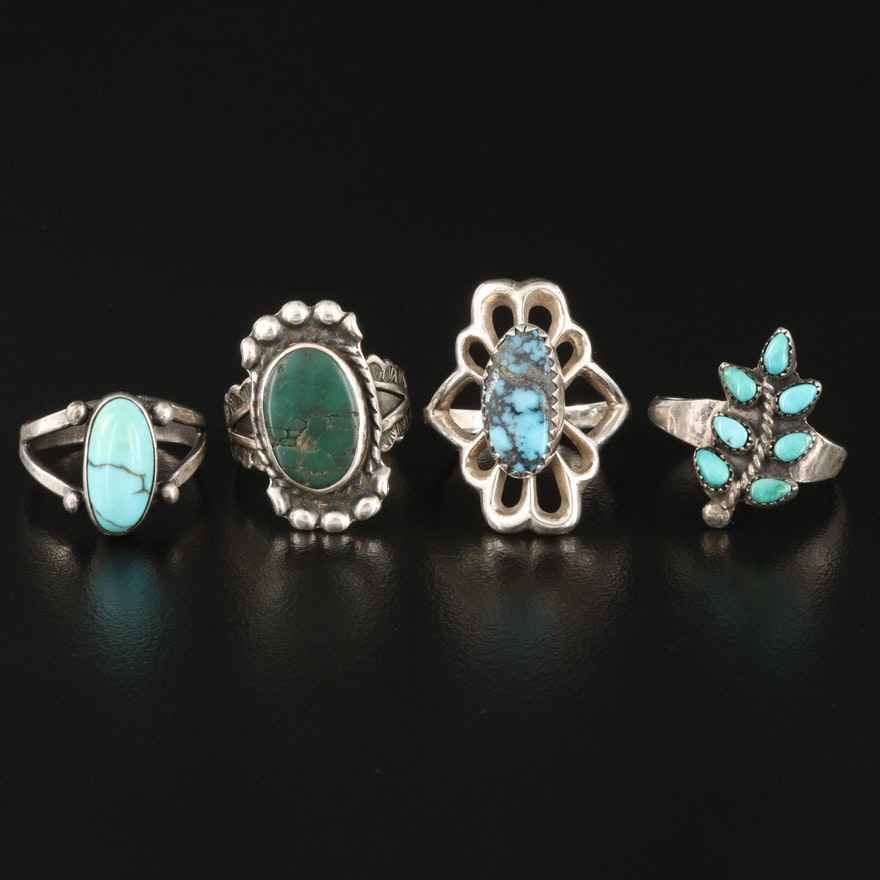 Southwestern Style Sterling Turquoise Rings