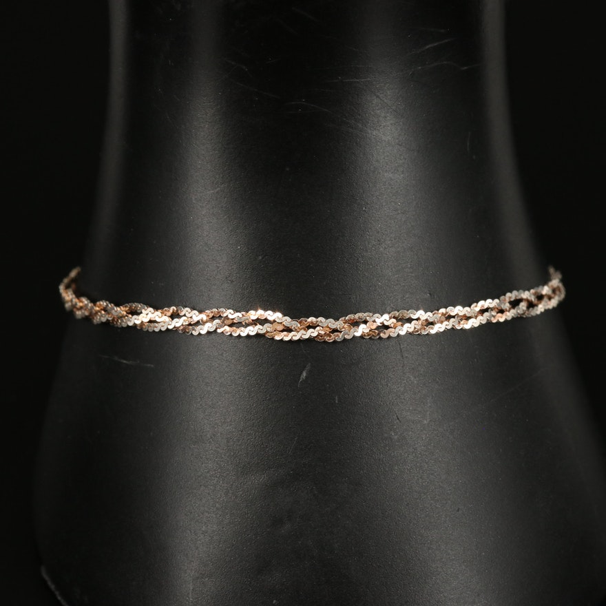 Italian Sterling Braided Serpentine Chain Bracelet