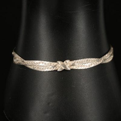 Sterling Herringbone Crossover Chain Bracelet