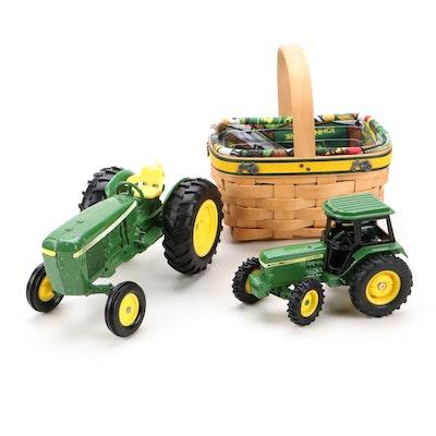 Ertl John Deere Metal Tractors with Deere Themed Longaberger Basket