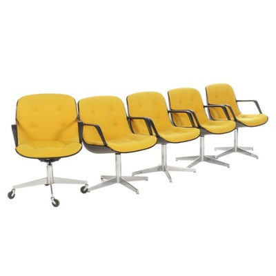Five Steelcase Mid Century Modern Formed Plastic Upholstered Office Chairs