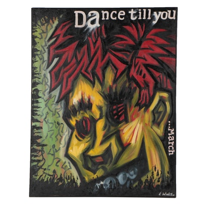"""Charles Wince Oil Painting """"Dance Till You ...March,"""" 1984"""