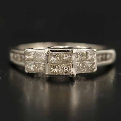 10K 0.89 CTW Diamond Ring with Channel Shoulders