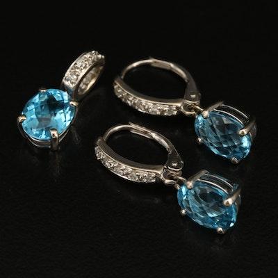 14K Swiss Blue Topaz and Diamond Earrings and Pendant