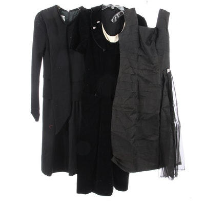 G.W Cohen Organza Dress with Tucking, Black Velvet Dress, Ciao Ltd. Knit Dress
