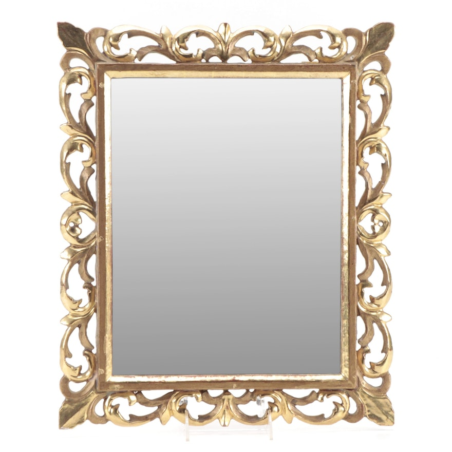 Florentine Style Rectangular Giltwood Wall Mirror, Late 19th/Early 20th Century