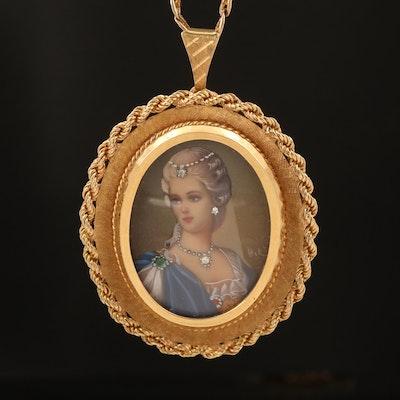 18K and 14K Diamond and Emerald Signed Portrait Habillé Converter Necklace