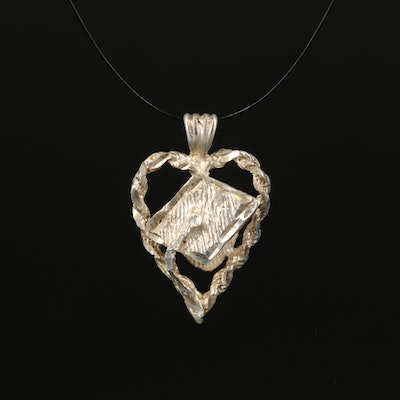 Sterling Graduation Cap and Heart Pendant with Braided Edge