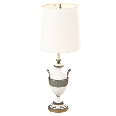 Italian Style Brass and Painted Metal Urn Torchiere Table Lamp, Mid-20th Century