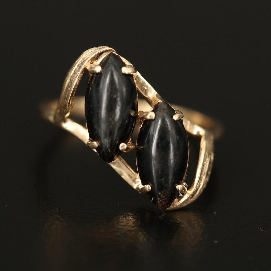 14K Black Coral Ring