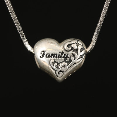"""Sterling """"Family"""" Charm on Fancy Link Chain"""