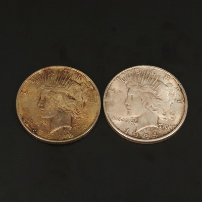 Two Peace Silver Dollars