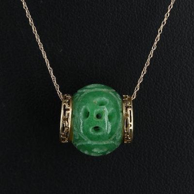 14K Carved Jadeite Bead Pendant