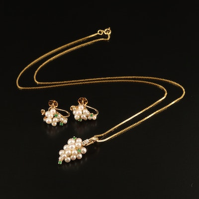 14K Pearl, Emerald and Diamond Earrings and Pendant Set on 18K Box Chain