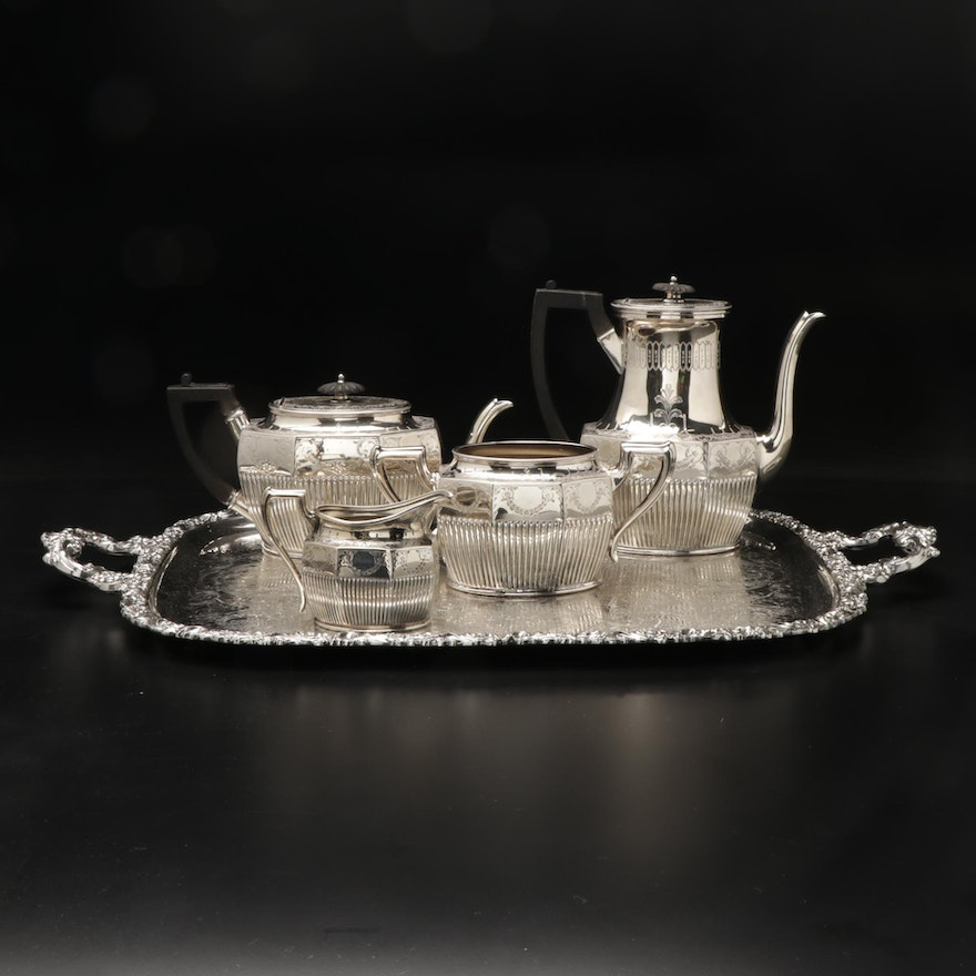 Phillip Ashberry & Sons Silver Plate Coffee Set With Serving Tray