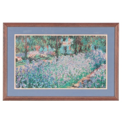 """Offset Lithograph After Monet """"The Artist's Garden at Giverny,"""" Circa 2000"""