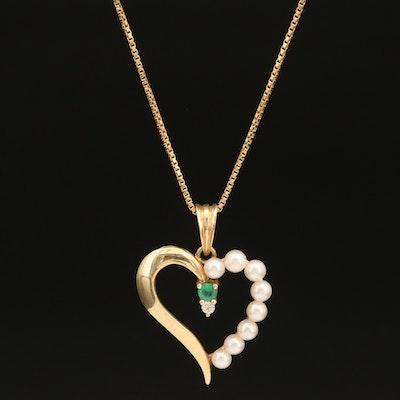 14K Pearl, Emerald and Diamond Heart Pendant Italian Sterling Box Chain