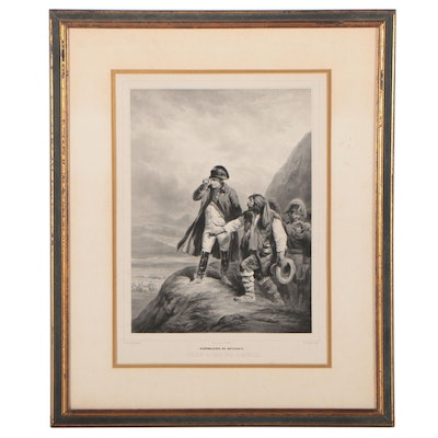 """Louis Marin-Lavigne Lithograph After Hippolyte Bellange """"Napoleon in Spanien"""""""