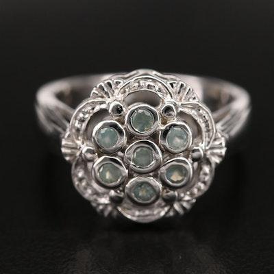 Sterling Cat's Eye Alexandrite Floral Cluster Ring