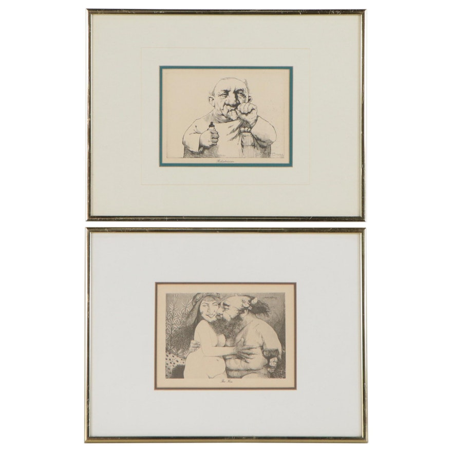 """Rotogravures After Charles Bragg """"The Kiss"""" And """"Pediatrician"""""""