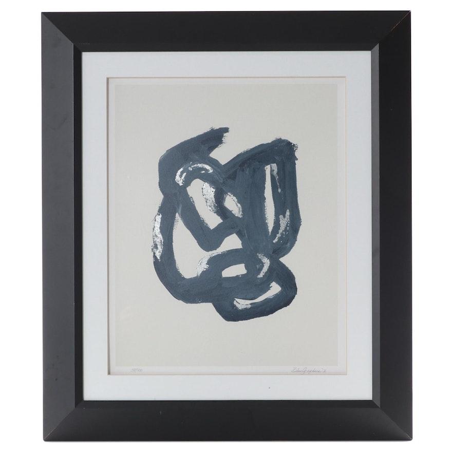 """Silver Leaf Embellished Giclée """"Blue Graphics I,"""" 21st Century"""