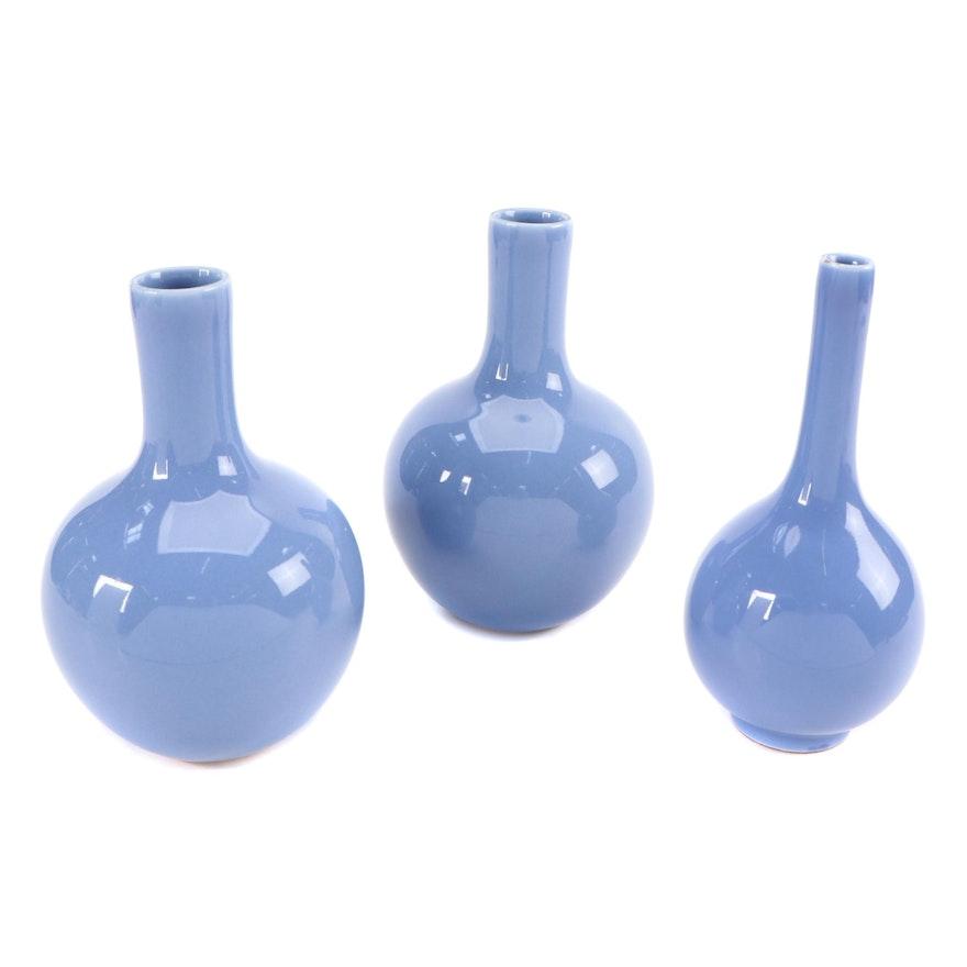 Chinese Porcelain Clair de Lune Bottle Vases
