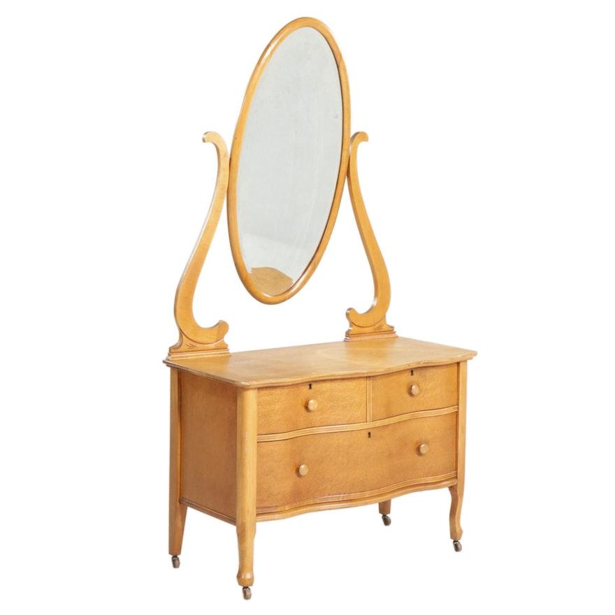 Empire Furniture Bird's Eye Maple Dresser and Mirror, Early 20th Century