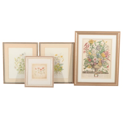 Floral Offset Lithographs and Watercolor Paintings, Late 20th Century