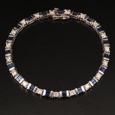 14K 1.67 CTW Diamond and Sapphire Bracelet