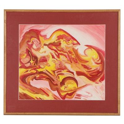 Abstract Watercolor Painting, Circa 2000
