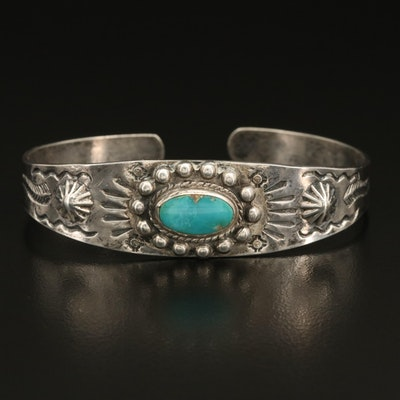 Southwestern Sterling Turquoise Stampwork Cuff