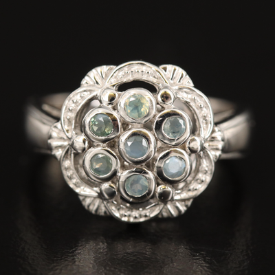 Sterling Silver Alexandrite Scallop Edge Ring