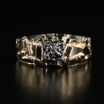 10K 0.01 CT Diamond Ring with Nugget Shoulders