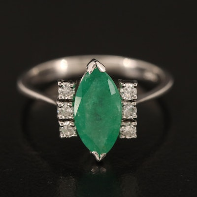 14K 1.23 CT Marquise Emerald and Diamond Ring