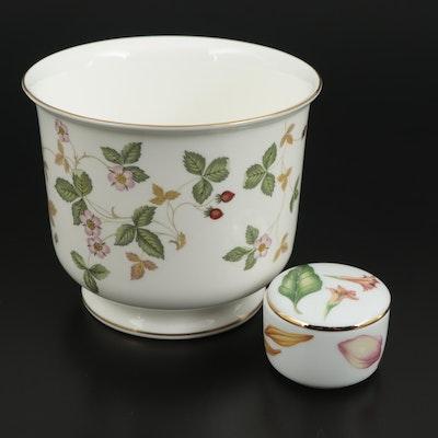 """Wedgwood """"Wild Strawberry"""" Bone China Cachepot with Tiffany & Co. Porcelain Box"""