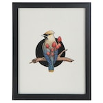"""Shannon Fitch Embellished Ink Drawing """"Waxwing,"""" 2018"""