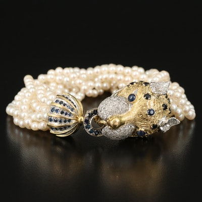 14K 1.94 CTW Diamond and Sapphire Feline and Multi-Strand Pearl Bracelet