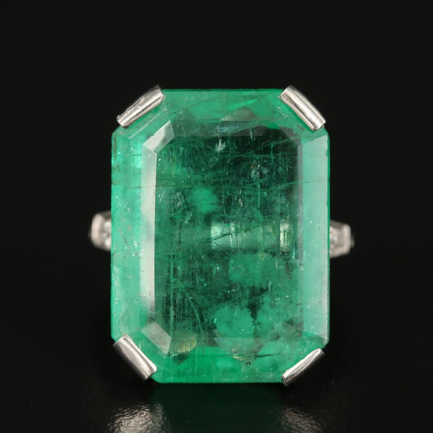 Art Deco Platinum 18.38 CT Emerald Ring with Diamond Shoulders