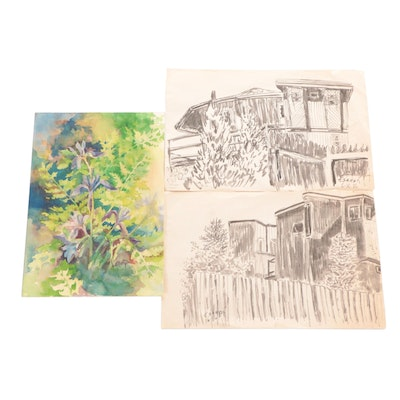 Watercolor and Ink Paintings, Late 20th Century