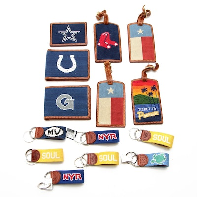 Smathers & Branson Wallets, Luggage Tags, and Key Fob in Needlepoint and Leather