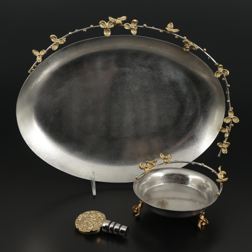 """Michael Aram """"Bittersweet"""" Collection Tray, Wine Coaster and Stopper"""
